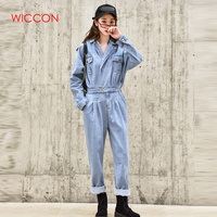 Blue Elegant BF Streetwear Women Denim Jumpsuit Pants 2019 Autumn Long Sleeve High Waist Retro Jeans Overalls Rompers Female