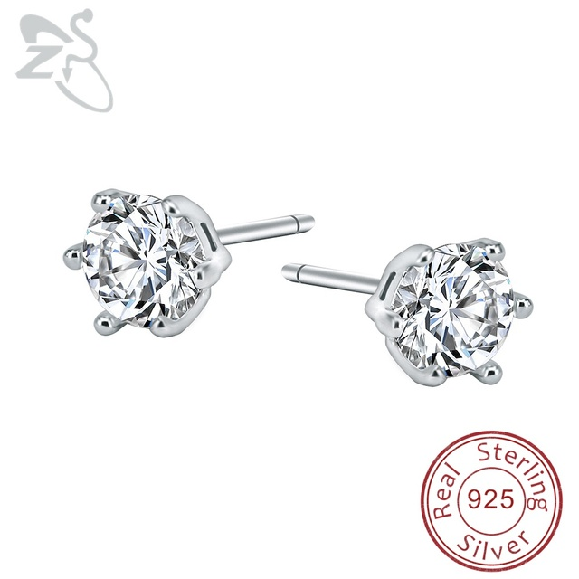 3 6mm Small Ear Studs Cubic Zirconia Earrings For Women 925 Sterling Silver Tiny Crystal