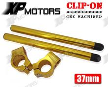 Gold 37mm Clipons Clip-On Handlebars For Kawasaki Ninja 250R EX250 2008 2009 2010 2011 2012  (7 Degree)
