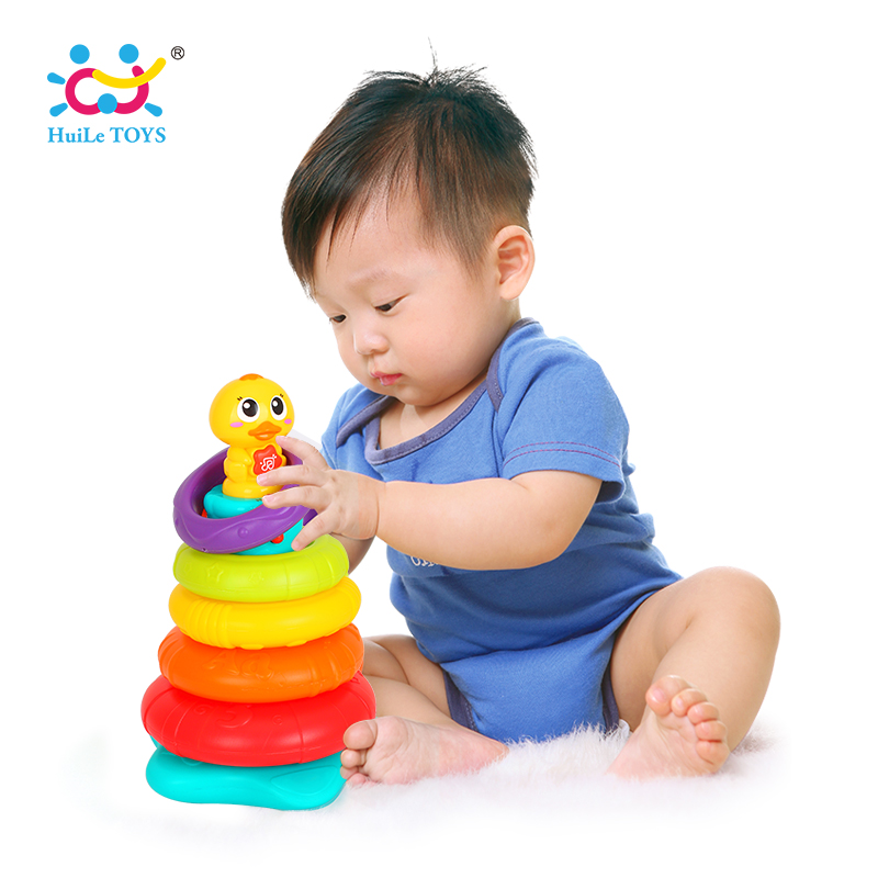 Baby Toy Stacking Rainbow Duck with Music & Lights Rings Rainbow Stack Up Tower Kids Early Educational Toys Gifts стоимость