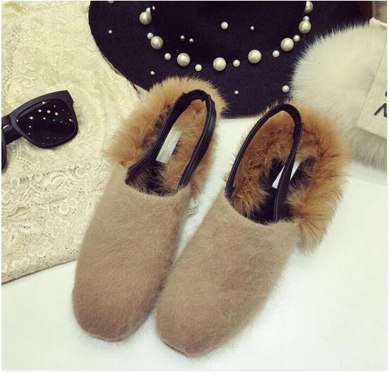 2017 Autumn and Winter Women Shoes Fashion Rabbit Fur Leather Slippers Warm Flats Shoes Sling Back Flip Flop Loafers Free Ship