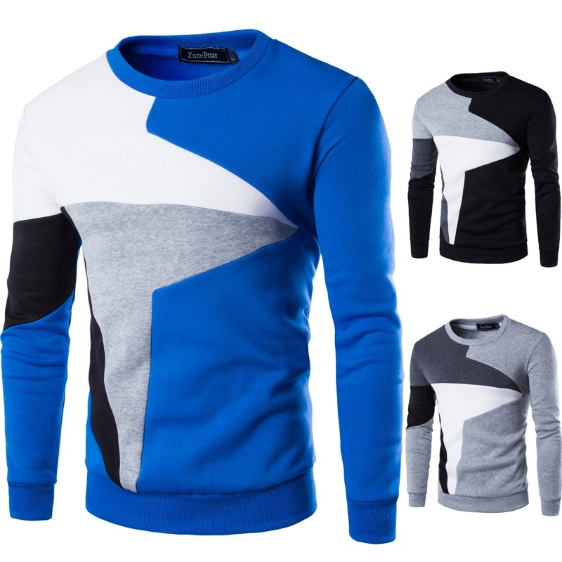 Spring New Men's Casual Long-sleeved Wind Hit The Color Stitching Hedging Sweater Plus Size XXS-4XL