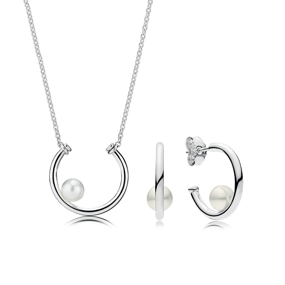 NEW 100% 925 Sterling Silver New Listing RAU0536 Purely Necklace and Earring Gift Set Original Jewelry Charming Women GiftNEW 100% 925 Sterling Silver New Listing RAU0536 Purely Necklace and Earring Gift Set Original Jewelry Charming Women Gift