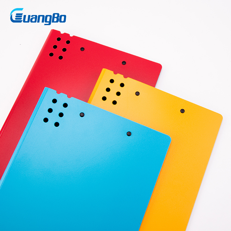 GUANGBO A4 File Folder PP Exam Lever Arch for Business Documents Paper Data Book Clip Filing Folder Clipboard Office Accessories