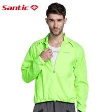 Santic Men Windproof Cycling Jacket Sun-protective UPF30+ Cycling Skin Coat Lightweight Mtb Road Bike Cycling Downhill Jersey цена
