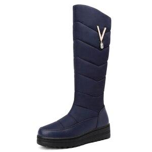 Image 2 - Женские зимние ботинки MEMUNIA, теплые ботинки до середины икры на меху с нескользящей резиновой подошвой на молнии, 2020