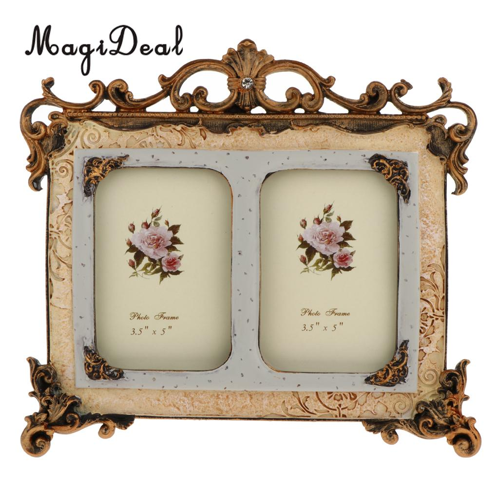 Magideal Vintage Style Resin Double Photo Frame Picture Home Decor 3 5 X Inch