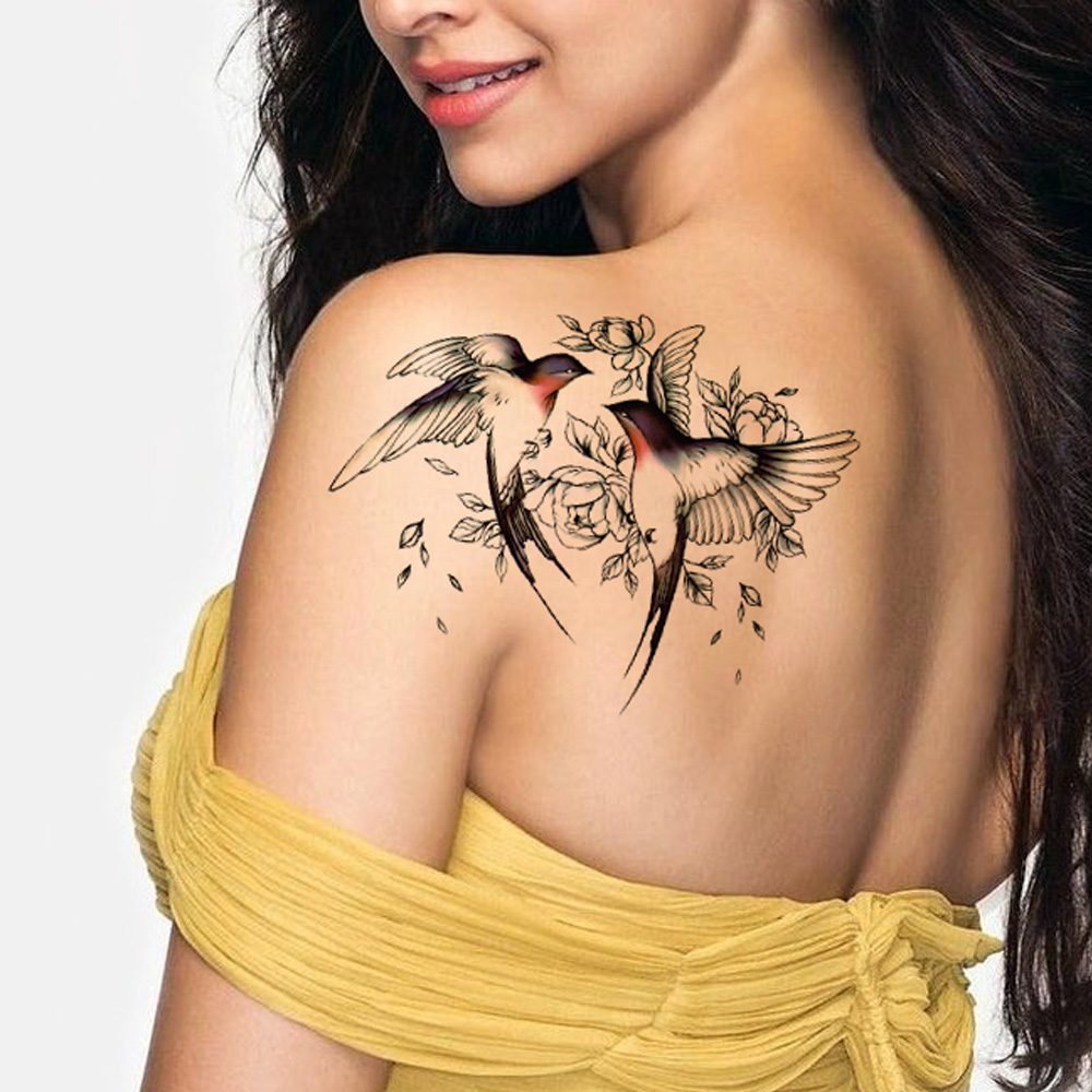 Big Flower arm tattoo Temporary Tattoo Sticker Sparrow/Magpie Fake Tatoo Sleeve Flash Tatto Waterproof Body Art Women sexy girls 4