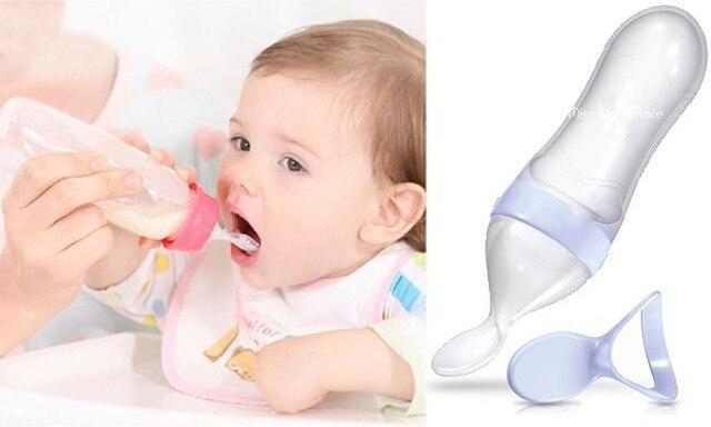 2016 Новая Бутылка Подачи Squeeze Силикона Детская Ложка Бутылка детские Ложки Посуда для Младенцев Без Bpa 4 Цвет