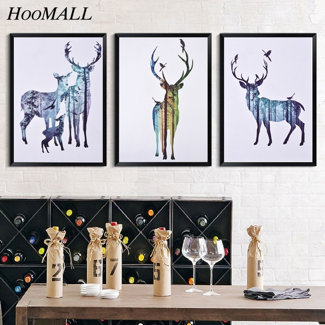 30x40cm Geometric Deer Family Canvas Art Print Poster Wall Pictures Painting Forest Deer Home Decoration(Without Frame)