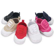 Newborn Baby Boy Girl Pram Shoes Infant Sneakers Toddler PreWalker Trainers 0-18 Soft Sole White Pram Shoes White Canvas(China)