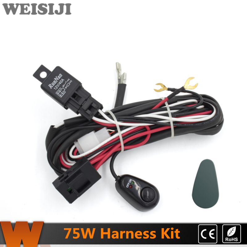 WEISIIJI 2Pcs 75W LED Work Light Wiring Loom Harness Kit with Fuse and Relay Switch LED weisiiji 2pcs 75w led work light wiring loom harness kit with fuse