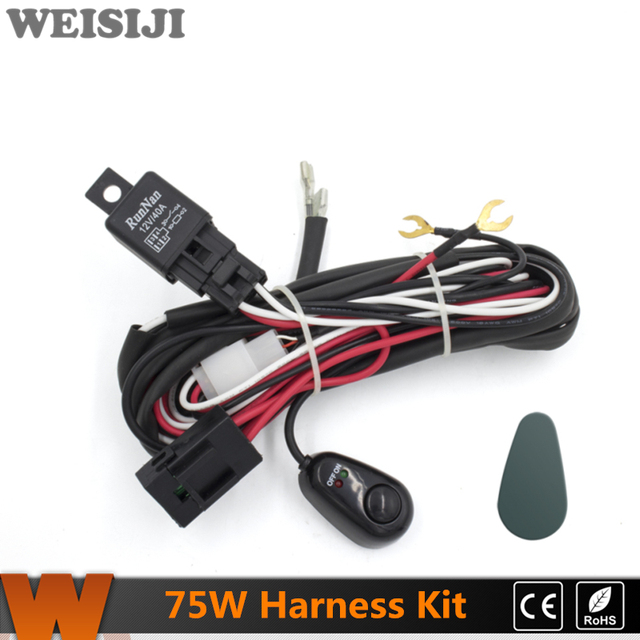 Superb Weisiiji 2Pcs 75W Led Work Light Wiring Loom Harness Kit With Fuse Wiring Cloud Hisonuggs Outletorg