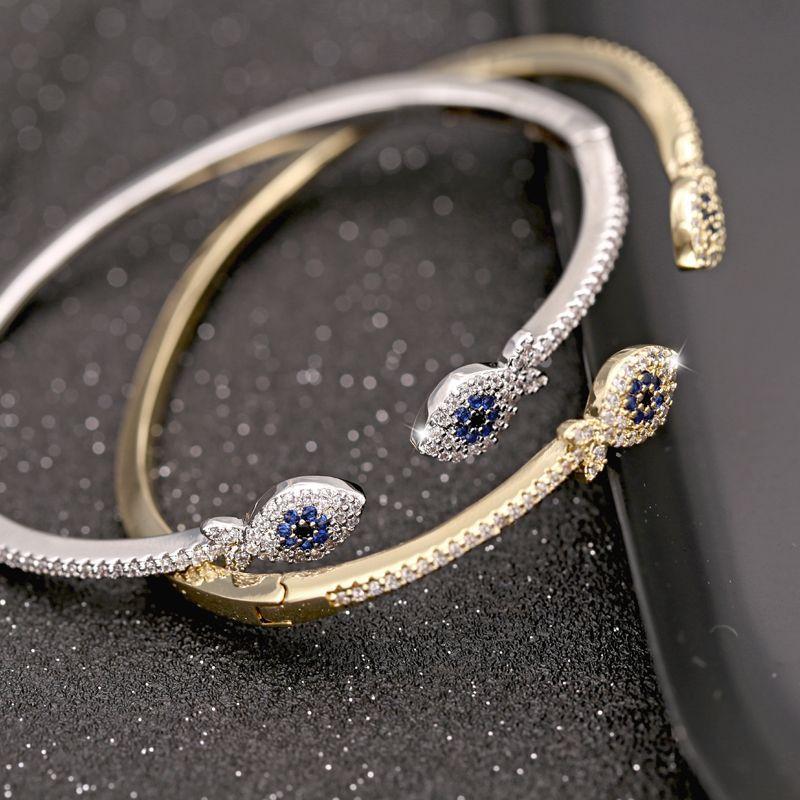 LOt Bangles Bracelets S925 Silver Crystal Bracelet Female Sweet Style Blue Stone Bracelet Temperament Lotus