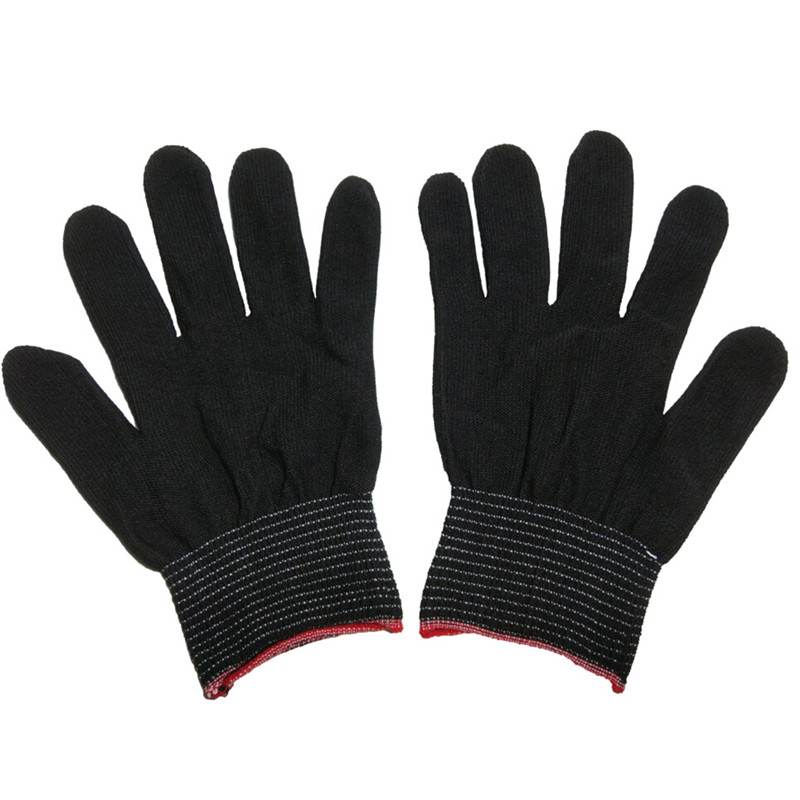 2Pairs White Nylon Black Antistatic Work Gloves Knit Working Gardening Lumbering Hand Safety Security Protector Grip