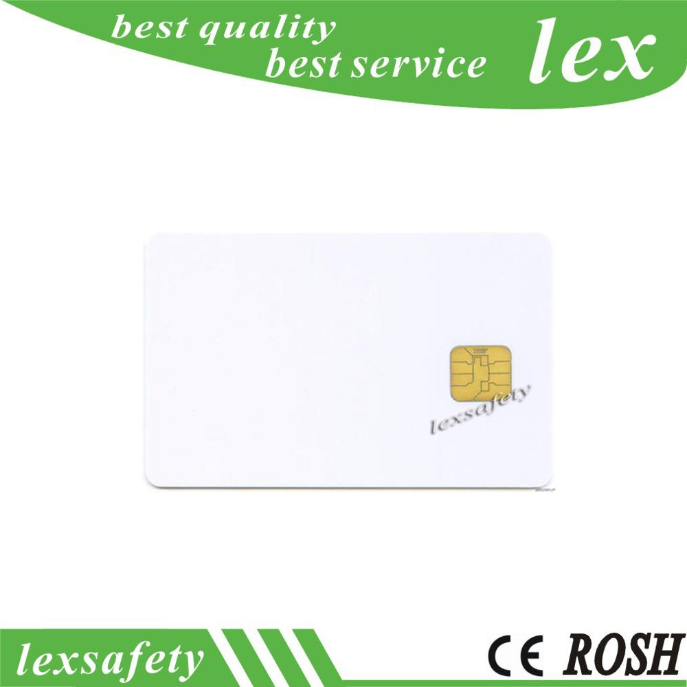 free shipping wholesale 100pcs lot white PVC card with ISO7816 chip blank fudan sle 4428 smart