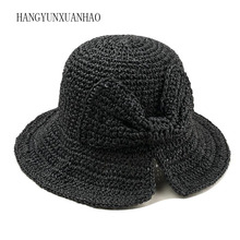 New handmade straw shading hat for ladies bow-knot foldable Japanese literary and artistic Holiday Beach Hat
