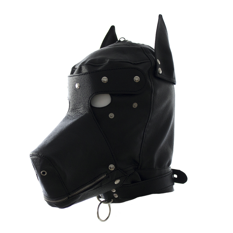Pu Dog Slave Head Hood Hoods Head Bondage Fully Enclosed Fun Headgear Bdsm Mask Adult Game Sex Toys For Couples Open Mouth Sex