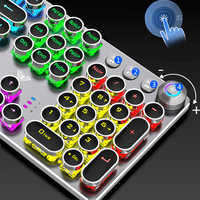 Steampunk Gaming Mechanische Tastatur Metall Panel Runde Retro Keycap Backlit Wired Pc-peripheriegeräte für Desktop Laptop