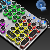 Steampunk Gaming Mechanical Keyboard Metal Panel Round Retro Keycap Backlit Wired Computer Peripherals for Desktop Laptop