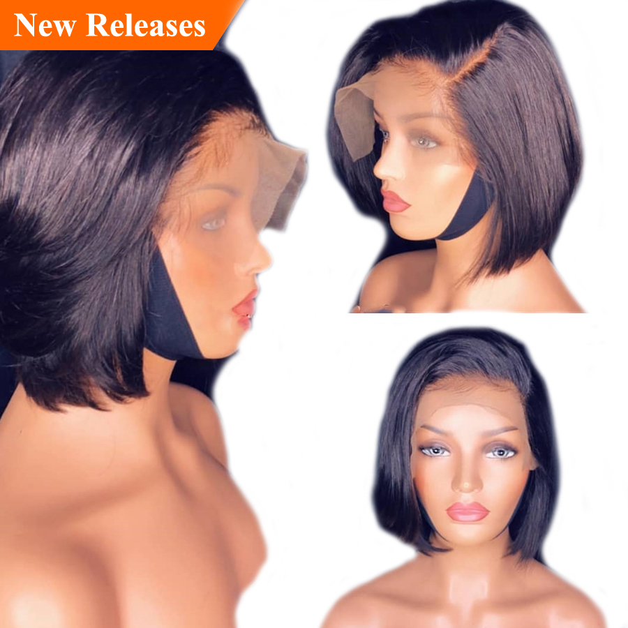 With A Band Short Lace Front Human Hair Wigs Pre Plucked Bob Wigs For Black Women