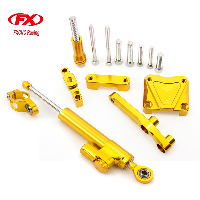 FXCNC Aluminum Adjustable Motorcycles Steering Stabilize Damper Bracket Mount Kit For Kawasaki EX300 NINJA300 2013-2016 2014 adjustable steering stabilize damper bracket mount kit for honda cbr1000 2008 2014 t6061 t6 aluminum a set cnc fxcnc gold