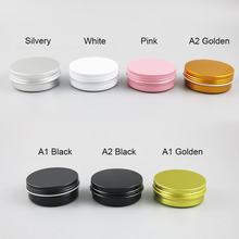 50 x 60g Empty Aluminum Jar 60ml Make Up Metal Cream 2oz Matte Black Pink Gold White Tin Cosmetic Container
