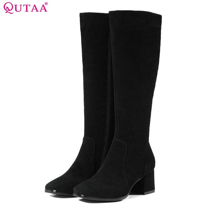 цена на QUTAA 2018 Fashion Women Knee High Boots Zipper Cow Suede High Quality Square High Heel Square Toe Women Boots Size 34-39