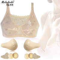 Lightweight silicone Breast Protheses Mastectomy Bra Thin no Steel Ring Postoperative Protective Cover Chest Pad Fake Breast Set