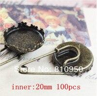 Ücretsiz Kargo 100 adet/grup Bakır Antik Bronz Taç Broş fit: 20mm/15mm Cameo Cabochon Bankası Ayarı