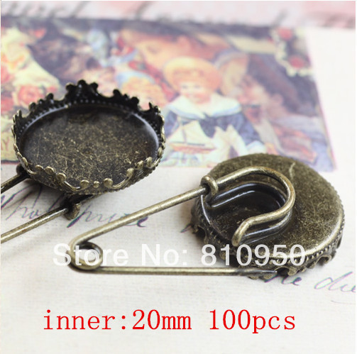 Free Shipping 100pcs Lot Copper Antique Bronze Crown Brooches Fit 20mm 15mm Cameo Cabochon Base Setting