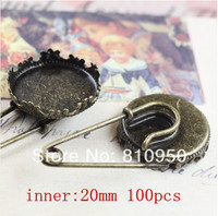 Free Shipping 100pcs/lot Copper Antique Bronze Crown Brooches fit: 20mm/15mm Cameo Cabochon Base Setting