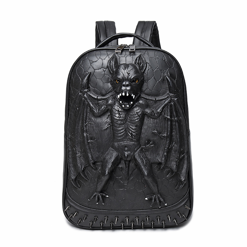 3D Bat Punk Cool Rock Women Men PU Backpack 3D Carving Embossing Cool School Bag Laptop Travel Rucksack Hip Hop Daily Backpacks aptoco chinese reflexology walk stone pain relieve foot leg massager mat health care acupressure