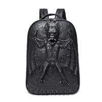 3D Bat Punk Cool Rock Women Men PU Backpack 3D Carving Embossing Cool School Bag Laptop Travel Rucksack Hip Hop Daily Backpacks