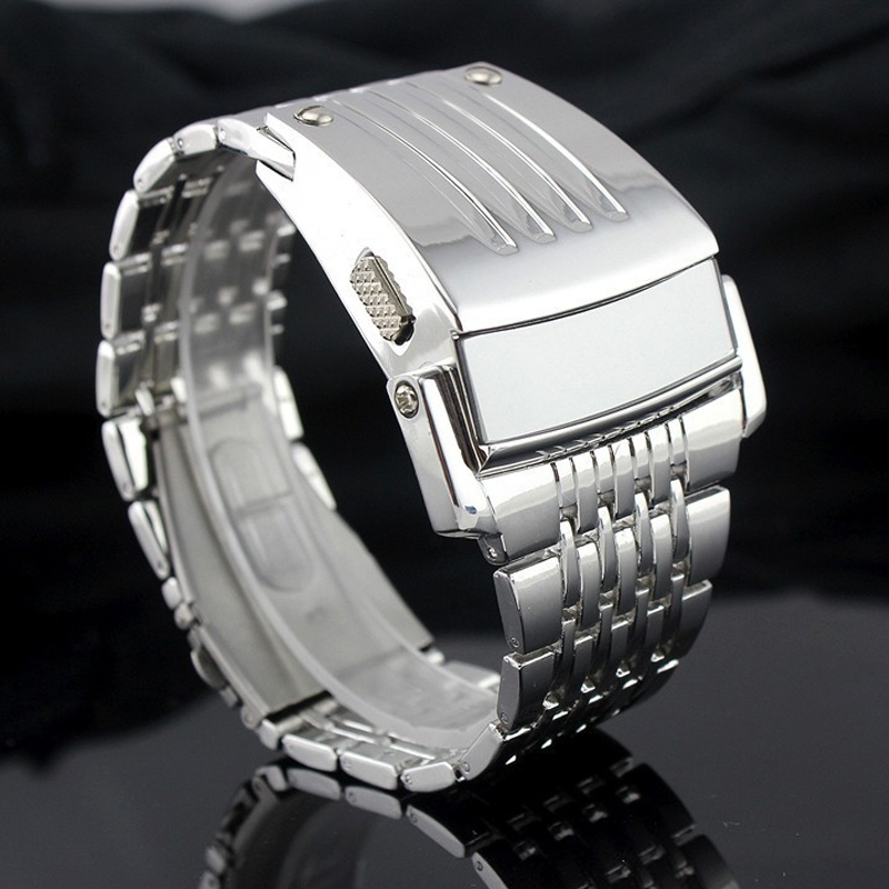 Brand Design Electronic Digital Watch Full Stainless Steel Men Wristwatches Military Sports Fashion LED Iron Man Watches
