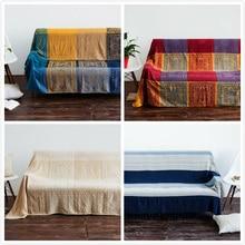 Cobijas de sofá decorativas de punto de algodón bohemio, mantel de hilo, manta para camas, toalla suave a cuadros, tapiz de decoración Vintage para el hogar