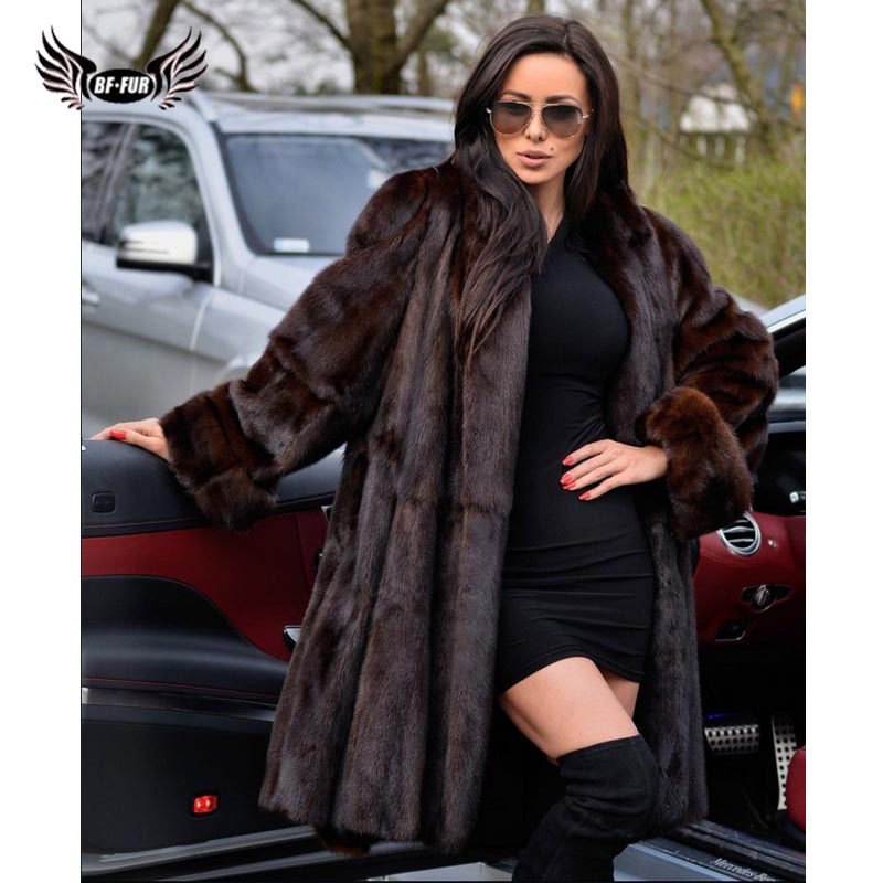 BFFUR 2019 Women Winter Real Mink Fur Coat Full Pelt Genuine Mink Fur Jacket Long Natural Fur Coats Woman Luxury Overcoat