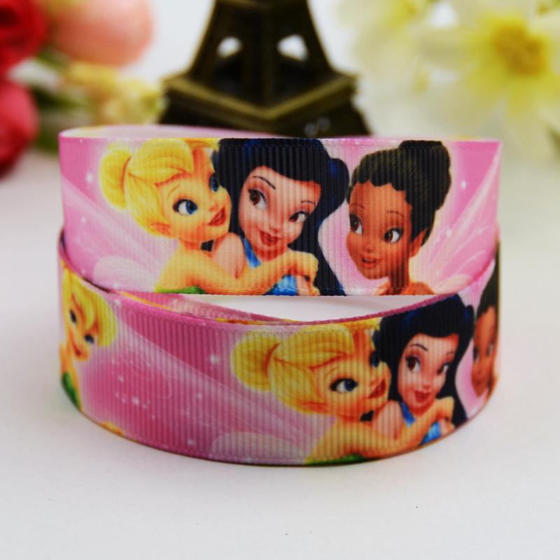 7/8 (22mm) Tinker Bell Cartoon Character printed Grosgrain Ribbon party decoration satin ribbons OEM 10 Yards X-00706