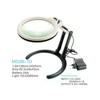 138mm Lens Desktop Magnifier Lamp 2X 5X LED Illuminated Magnifying Glass With 2AA Battery Or External
