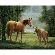 YIKEE diamond painting Two horses,diamond painting crystal,5d full drill square diamond painting K639 yikee diamond painting lighthouse 5d diamond painting full drill square 5d diamond k826