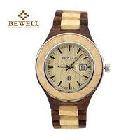 BEWELL Red Sandal Wood Quartz Watch For Men Brand Luxury 2016 Auto Date Display Men S