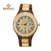 BEWELL Men's Watch Natural Wood Watch Handmade Group Brand Design Automatic Date Display Men's Clock Give Gifts Jewelry 100 AG