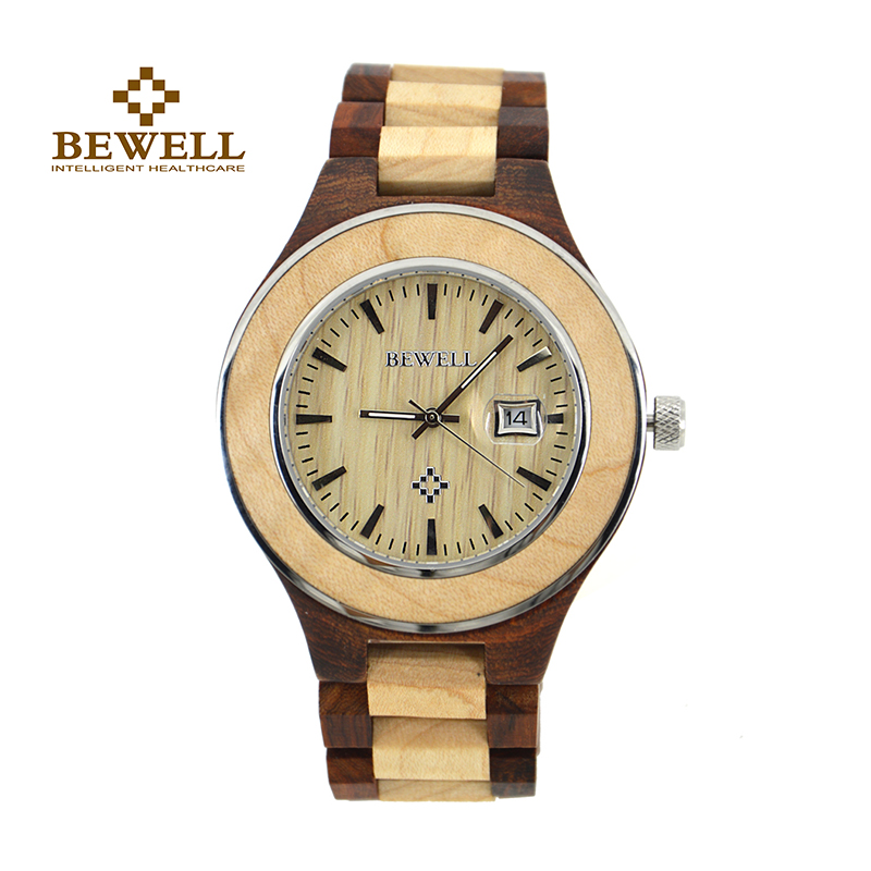 BEWELL Wood Watch Men Brand Watch Luxury 2016  Auto Date Display Men Watch For Sale Relogio Masculino Clock With Box 100AG bewell luxury brand wood watch men analog digital movement date waterproof male wristwatches with alarm date relogio masculino