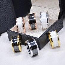 Classic luxury brand Titanium Steel white and black Ceramics ring for women men high quality love couple ring bulgaria jewelry