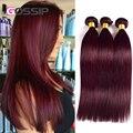 7А Бордовый Бразильские Волосы 99J Рыжие Волосы Пучки Виргинский Бразильский Прямые Волосы 4 Связки Красное Вино Прямо Человеческих Волос
