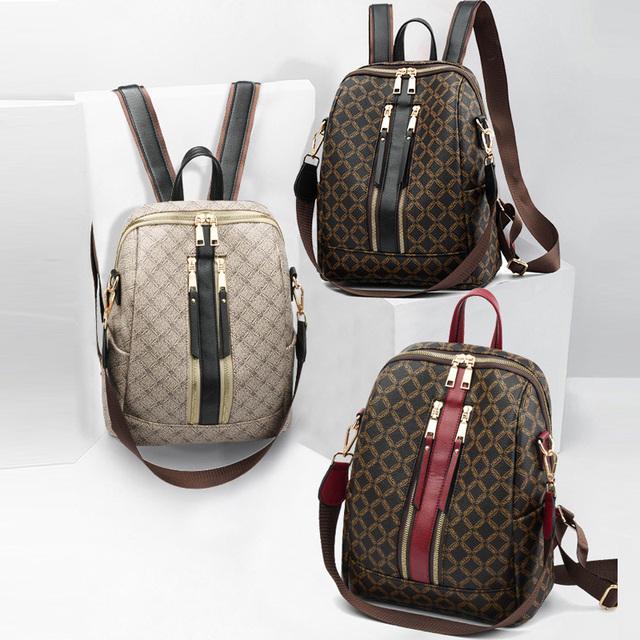 Luxury Leather Ryggsekk kvinner Printing Ryggsekker Retro Kvinne veske skolesekker