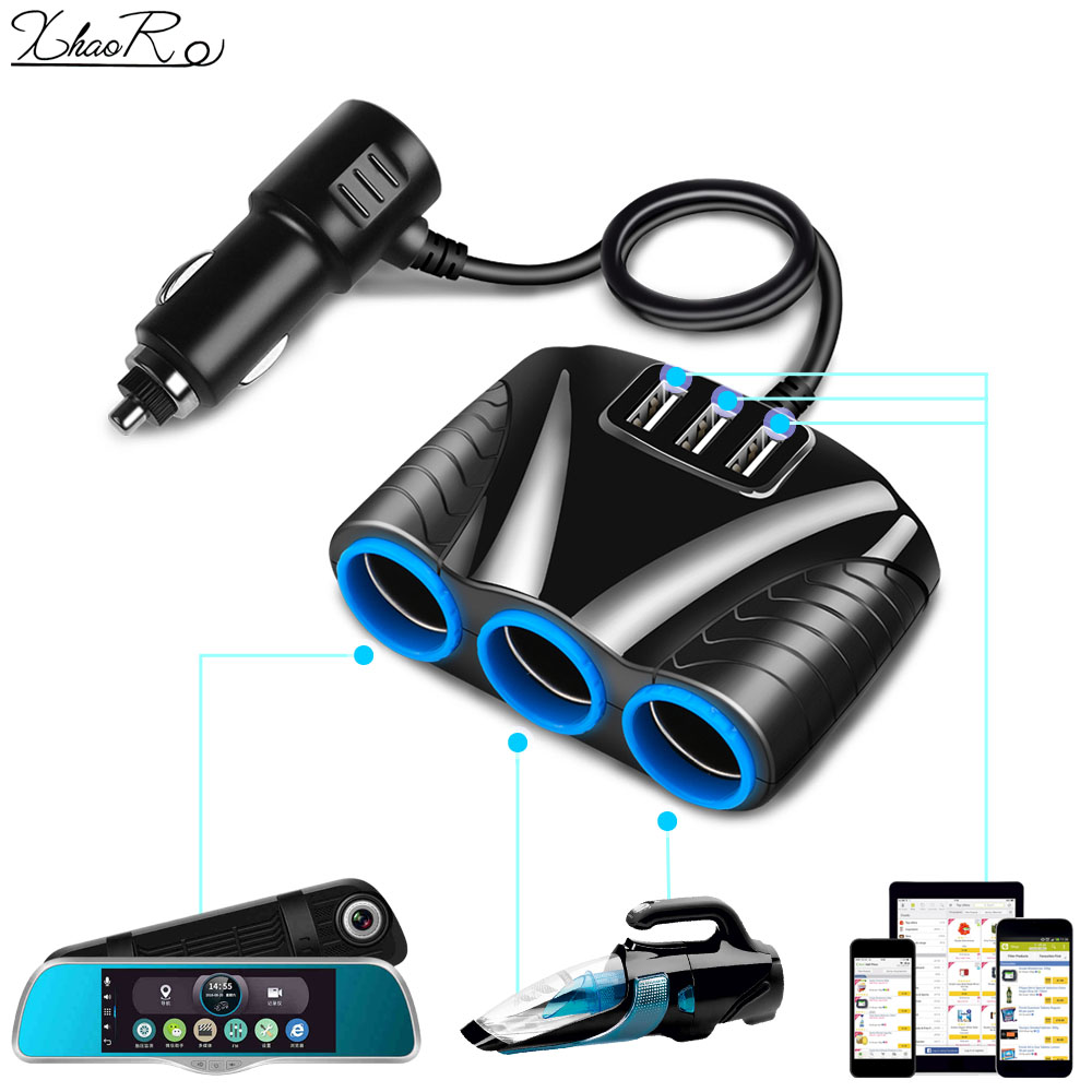 XhaoR 3.1A 12V Car Charger 3 in 1 Cigarette Lighter Splitter Power Adapter USB Car-charger Socket For IPhone IPad Phone DVR GPS