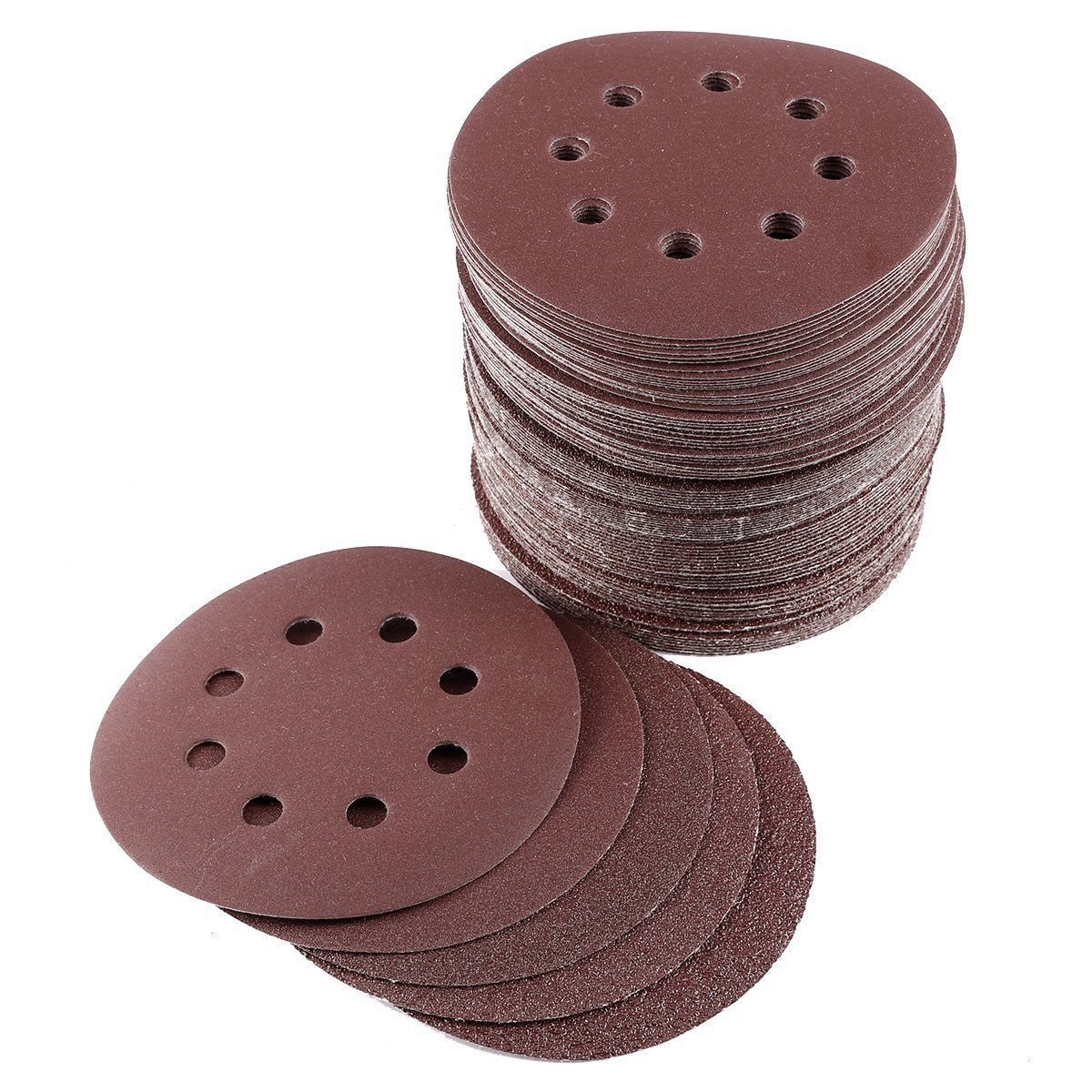 100x Discs Sanding 125mm Paper Abrasive Emeri Sander Paper Glass Grain 40/60/80/120/240 Sheet Polishing Furniture