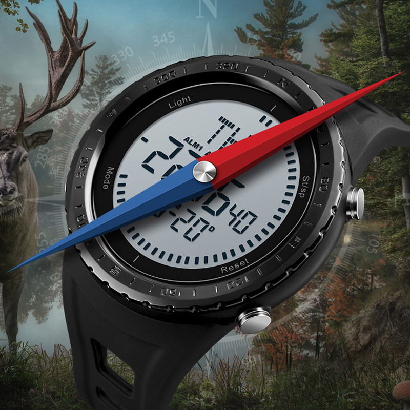 2018 SKMEI Brand Compass Watches Men 5ATM Water Proof Digital Outdoor Sports Watch EL Backlight Countdown Wristwatches Relojes