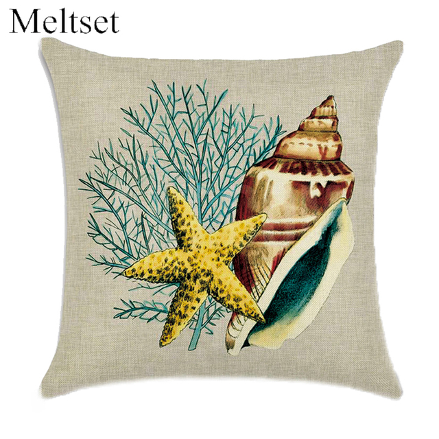 Elegant Marine Style Conch Octopus Coral Cushion Cover Throw Pillow Case Decorative  Sofa Car Chair Linen Pillow Good Ideas